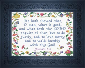 What Doth The LORD Require? - Micah 6:8 | Crafting | Cross-Stitch | Religious