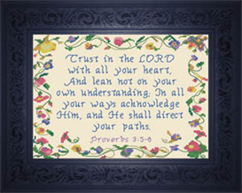 He Shall Direct Your Paths - Proverbs 3:5-6 | Crafting | Cross-Stitch | Religious
