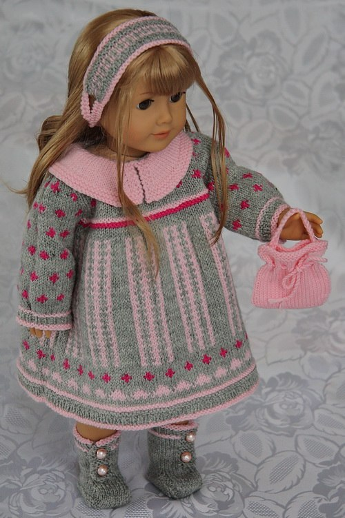 Knitting Pattern For Dolls Trousers : DollKnittingPattern - 0070D ROSALIN -DRESS, PANT, SHOES, HAIR BAND, HAND BAG ...