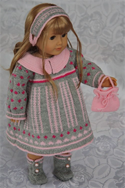 DollKnittingPattern - 0070D ROSALIN -DRESS, PANT, SHOES, HAIR BAND,  HAND BAG