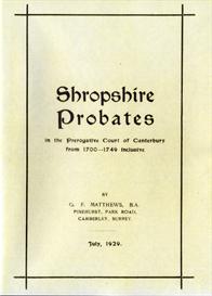 Shropshire Probates 1700-1749 | eBooks | Reference