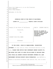 Pre Trial Motion to Exclude Expert Opinion by Officer | Documents and Forms | Legal