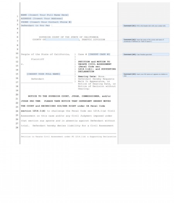 First Additional product image for - Petition to Vacate Civil Assessment w/ Declaration in Suport
