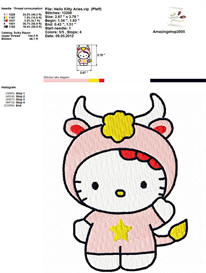 Hello Kitty Zodiac Embroidery Design | Crafting | Sewing | Other