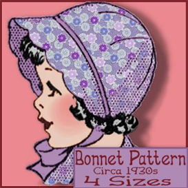 scalloped bonnet 1930s-40s four sizes lined or felt!