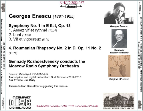 First Additional product image for - Enescu: Symphony No. 1 in E-flat, Op. 13; Roumanian Rhapsody No. 2 in D, Op. 11 No. 2 - Moscow Radio Symphony Orchestra/Gennady Rozhdestvensky