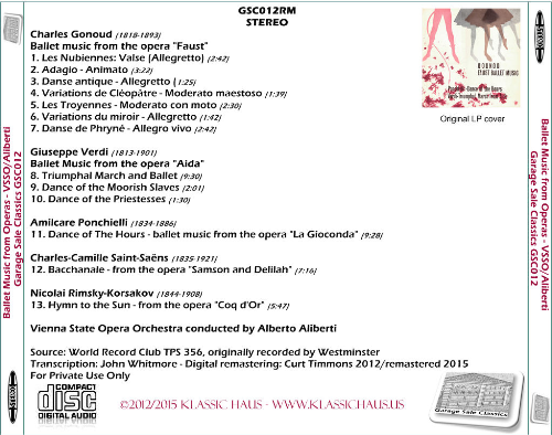 """First Additional product image for - Gonoud: Ballet Music from """"Faust""""; Verdi: Ballet Music from """"Aida""""; Ponchielli: Dance of The Hours; Saint-Saëns: Bacchanale; Rimsky-Korsakov: Hymn to the Sun - Vienna State Opera Orchestra/Alberto Aliberti"""