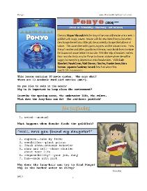 PONYO, Whole-Movie English (ESL) Lesson | eBooks | Education
