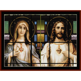 stained glass sacred hearts - religious cross stitch pattern by cross stitch collectibles