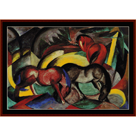 Three Horses - Franz Marc cross stitch pattern by Cross Stitch Collectibles | Crafting | Cross-Stitch | Wall Hangings