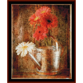 Gerbera Daisies in Watering Can - Floral cross stitch pattern by Cross Stitch Collectibles | Crafting | Cross-Stitch | Other