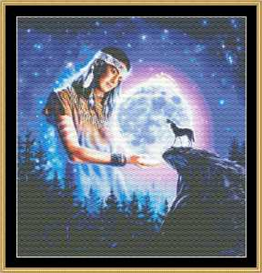 maiden of mystical moon - cross stitch pattern