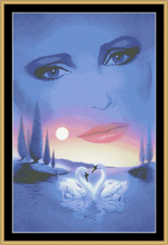 A Swan Dream In Blue   Crafting   Cross-Stitch   Other