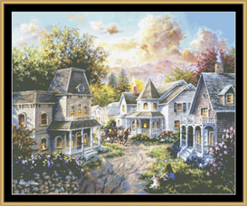 main street along country village - cross stitch pattern