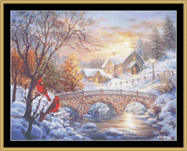 winter sunset - cross stitch pattern