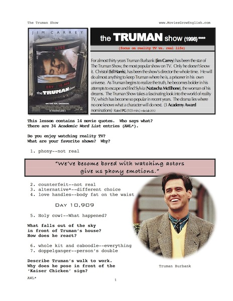 The truman show essay quotes
