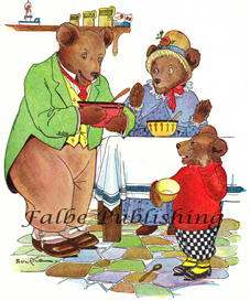 Digital vintage full color image of Three Bears with porridge - high res JPEG for worldwide download | Photos and Images | Vintage