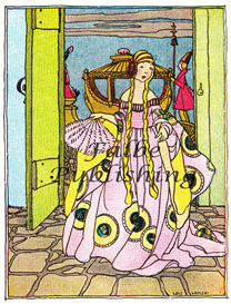 Digital vintage full color image of Cinderella arriving at the ball - high res JPEG for worldwide download | Photos and Images | Vintage