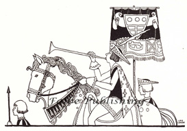 Digital vintage black and white image of Medieval herald with trumpet - high res JPEG for worldwide download   Photos and Images   Vintage