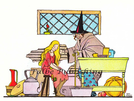 Digital vintage full color image of Cinderella and witch - high res JPEG for worldwide download | Photos and Images | Vintage
