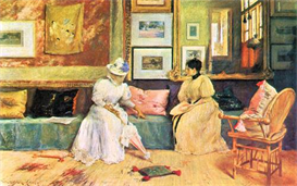 Image Photo A friendly visit William Merritt Chase Impressionism American | Photos and Images | Vintage