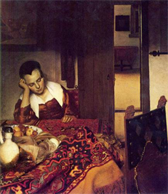 Image Photo A woman asleep Vermeer | Photos and Images | Vintage