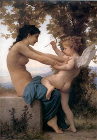 Image Photo A Young Girl Defending Herself Against Eros Bouguereau | Photos and Images | Vintage
