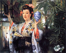 Image Photo A young woman holds Japanese goods Tissot | Photos and Images | Vintage