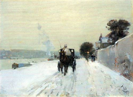 Image Photo Along the Seine, Winter Hassam Impressionism American | Photos and Images | Vintage