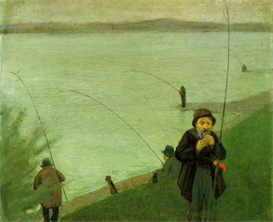 Image Photo Anglers on the Rhine Macke | Photos and Images | Vintage