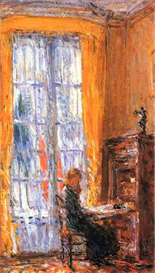 Image Photo At the desk Hassam Impressionism American | Photos and Images | Vintage