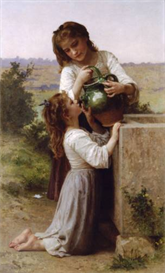 Image Photo At The Fountain Bouguereau | Photos and Images | Vintage