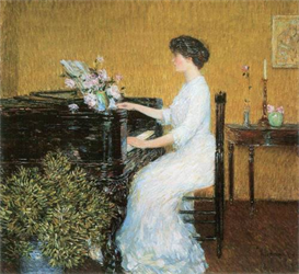 Image Photo At the piano Hassam Impressionism American | Photos and Images | Vintage