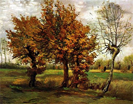 Image Photo Autumn Landscape with Four Trees Van Gogh | Photos and Images | Vintage