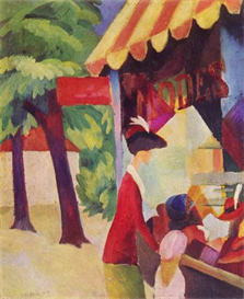 Image Photo Before Hutladen (woman with a red jacket and child) Macke | Photos and Images | Vintage