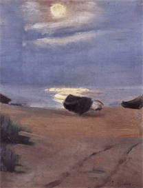 Image Photo Boats in the moonlight on South Beach Anna Ancher Impressionism European | Photos and Images | Vintage