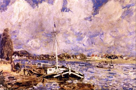 Image Photo Boats on the Seine Renoir Impressionism | Photos and Images | Vintage
