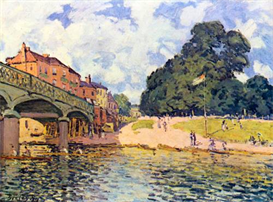 Image Photo Bridge on Hampton Court Sisley | Photos and Images | Vintage