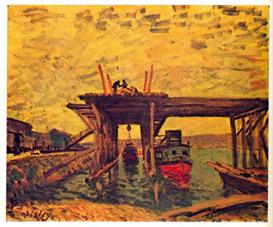 Image Photo Bridge under construction Sisley Impressionism | Photos and Images | Vintage