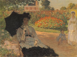 Image Photo Camille in the garden with Jean and his nanny Monet | Photos and Images | Vintage