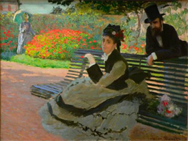 Image Photo Camille Monet on a garden bench | Photos and Images | Vintage