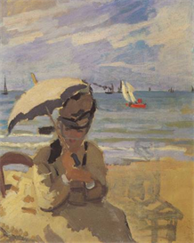 Image Photo Camille Monet on the beach at Trouville Monet | Photos and Images | Vintage
