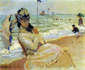Image Photo Camille on the beach at Trouville Monet | Photos and Images | Vintage