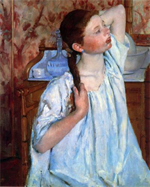 Image Photo Cassatt Mary - Girl Arranging Her Hair 1886 | Photos and Images | Vintage