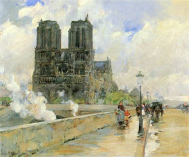 Image Photo Cathedral of Notre Dame, 1888 Hassam Impressionism American | Photos and Images | Vintage