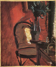 Image Photo Chair with a plant in front of red wall Anna Ancher Impressionism European | Photos and Images | Vintage