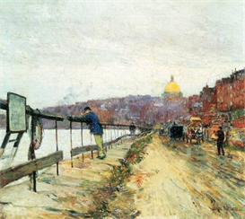 Image Photo Charles River und Beacon Hill Hassam Impressionism American | Photos and Images | Vintage