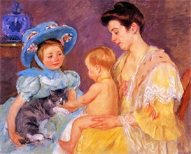 Image Photo Children Playing with a Cat Mary Cassatt Impressionism | Photos and Images | Vintage