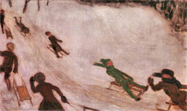 Image Photo Children sledding Franz von Stuck Symbolism | Photos and Images | Vintage