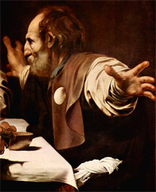 Image Photo Christ in Emmaus, detail - Disciples of Christ [2] Caravaggio | Photos and Images | Vintage